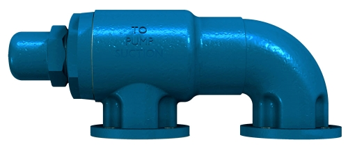 Blue valve leading to pump suction